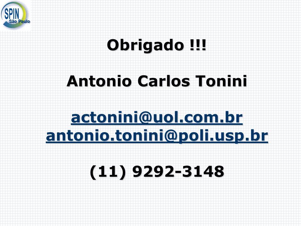 Antonio Carlos Tonini Obrigado !!! Antonio Carlos Tonini actonini@uol.com.br antonio.tonini@poli.usp.br (11) 9292-3148