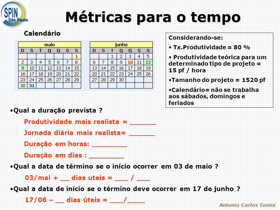 Antonio Carlos Tonini Métricas para o tempo Calendário Considerando-se: Tx.Produtividade = 80 % Produtividade teórica para um determinado tipo de proj