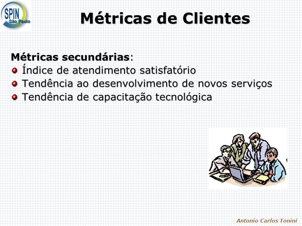 Antonio Carlos Tonini Métricas de Clientes Métricas secundárias: Índice de atendimento satisfatório Tendência ao desenvolvimento de novos serviços Ten