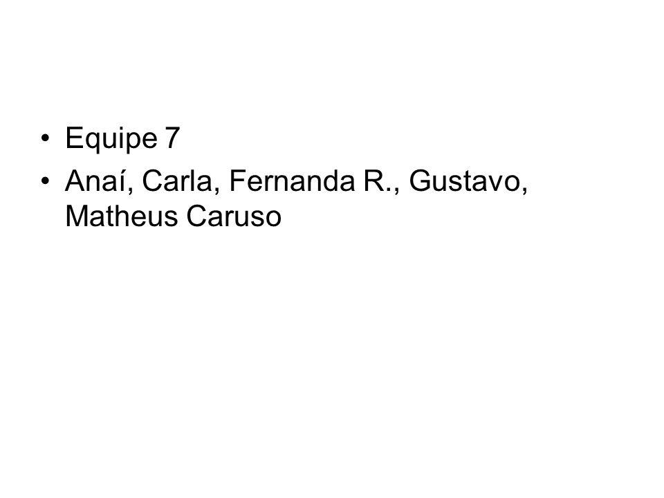 Equipe 7 Anaí, Carla, Fernanda R., Gustavo, Matheus Caruso