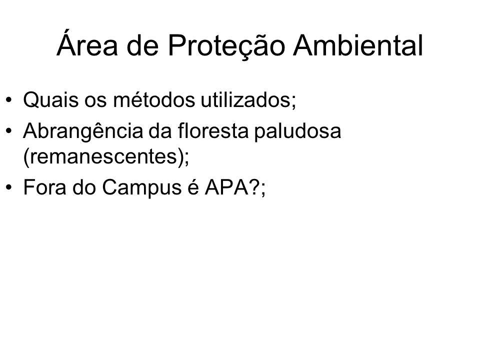Área de Proteção Ambiental Quais os métodos utilizados; Abrangência da floresta paludosa (remanescentes); Fora do Campus é APA?;