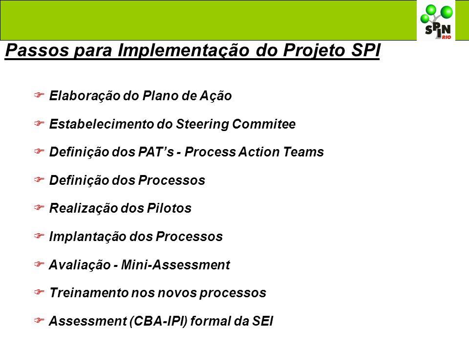 Passos para Implementação do Projeto SPI Elaboração do Plano de Ação Estabelecimento do Steering Commitee Definição dos PATs - Process Action Teams De