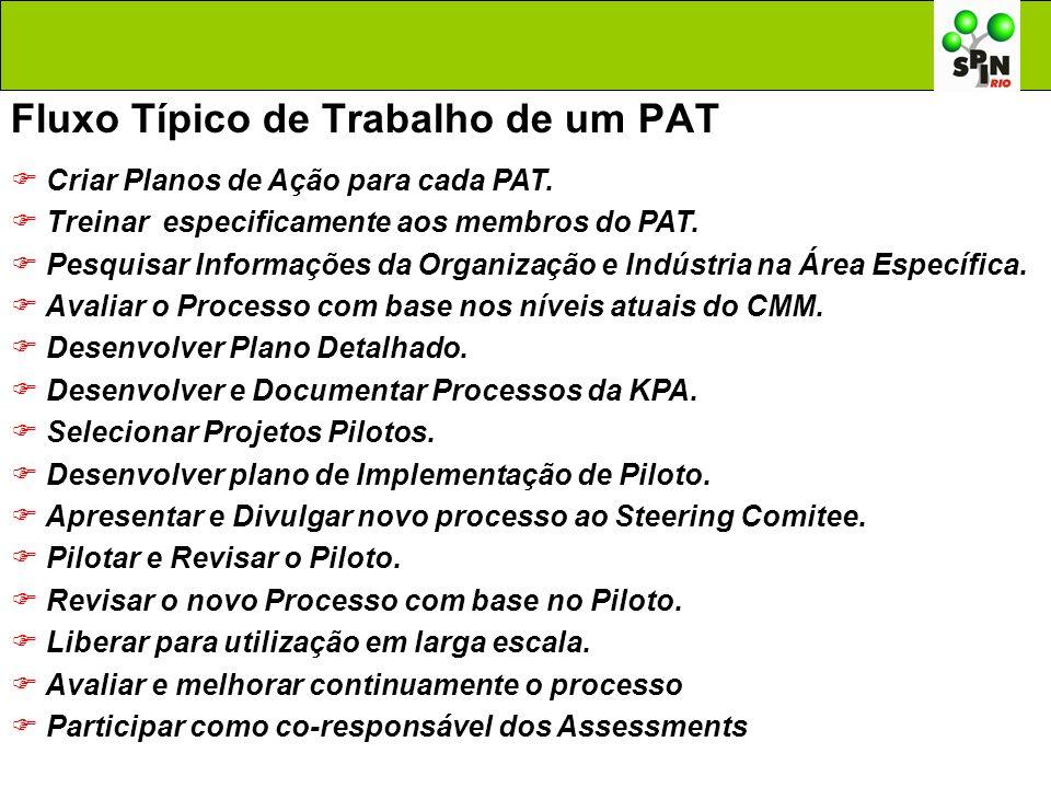 Fluxo Típico de Trabalho de um PAT Criar Planos de Ação para cada PAT. Treinar especificamente aos membros do PAT. Pesquisar Informações da Organizaçã