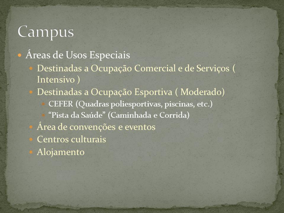 Áreas de Usos Especiais Destinadas a Ocupação Comercial e de Serviços ( Intensivo ) Destinadas a Ocupação Esportiva ( Moderado) CEFER (Quadras poliesp