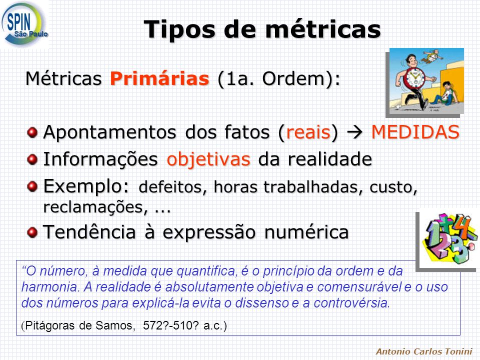 Antonio Carlos Tonini Tipos de métricas Métricas Primárias (1a. Ordem): Apontamentos dos fatos (reais) MEDIDAS Informações objetivas da realidade Exem