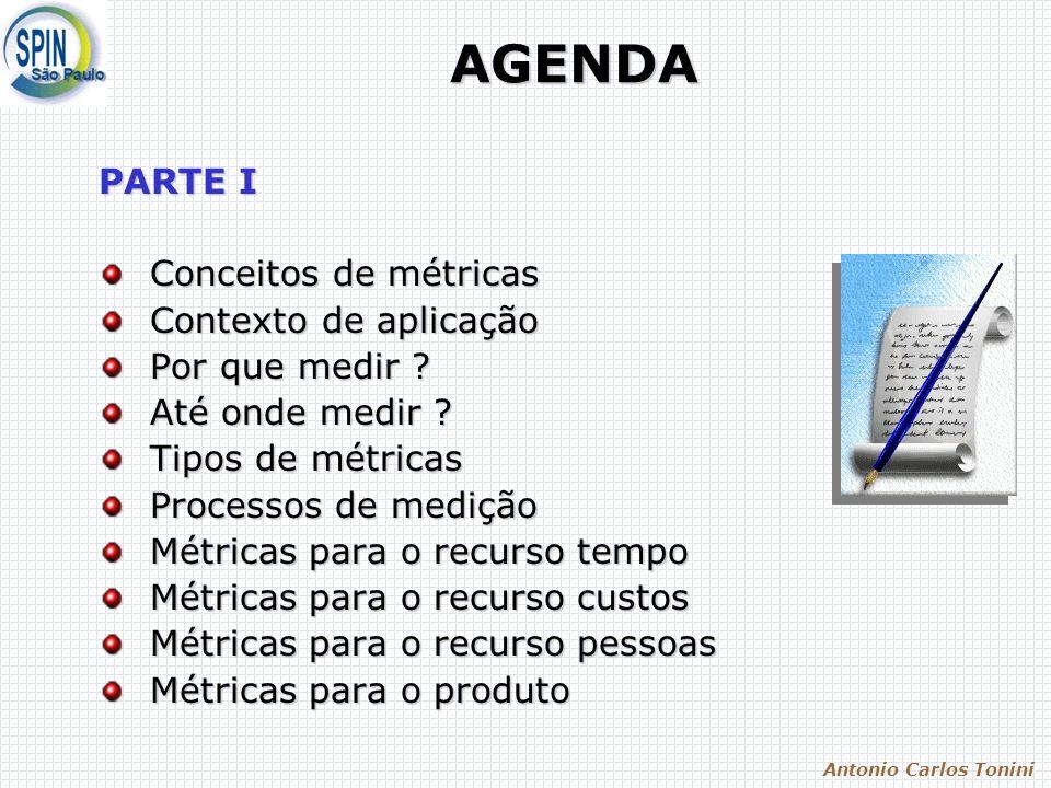 Antonio Carlos Tonini AGENDA PARTE I Conceitos de métricas Conceitos de métricas Contexto de aplicação Contexto de aplicação Por que medir ? Por que m