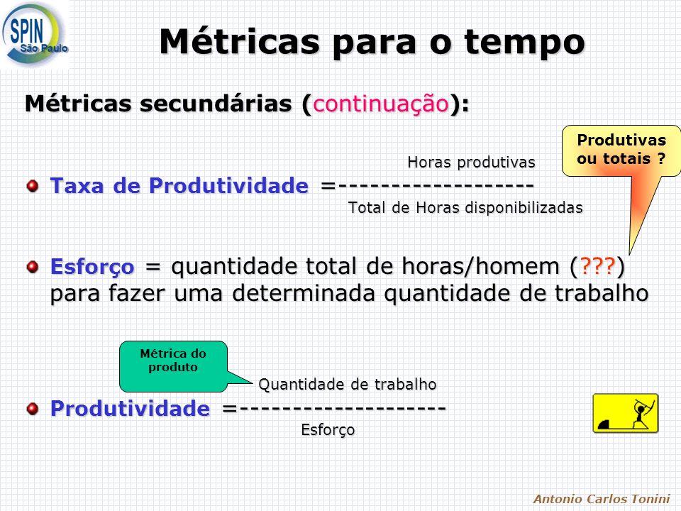 Antonio Carlos Tonini Métricas para o tempo Métricas secundárias (continuação): Horas produtivas Horas produtivas Taxa de Produtividade =------------------- Total de Horas disponibilizadas Total de Horas disponibilizadas Esforço = quantidade total de horas/homem ( ) para fazer uma determinada quantidade de trabalho Quantidade de trabalho Quantidade de trabalho Produtividade =-------------------- Esforço Esforço Produtivas ou totais .