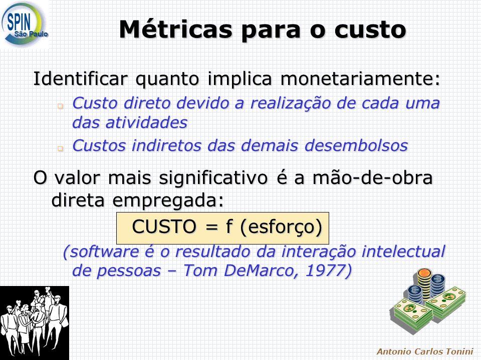 Antonio Carlos Tonini Métricas para o custo Identificar quanto implica monetariamente: Custo direto devido a realização de cada uma das atividades Custo direto devido a realização de cada uma das atividades Custos indiretos das demais desembolsos Custos indiretos das demais desembolsos O valor mais significativo é a mão-de-obra direta empregada: CUSTO = f (esforço) CUSTO = f (esforço) (software é o resultado da interação intelectual de pessoas – Tom DeMarco, 1977) (software é o resultado da interação intelectual de pessoas – Tom DeMarco, 1977)