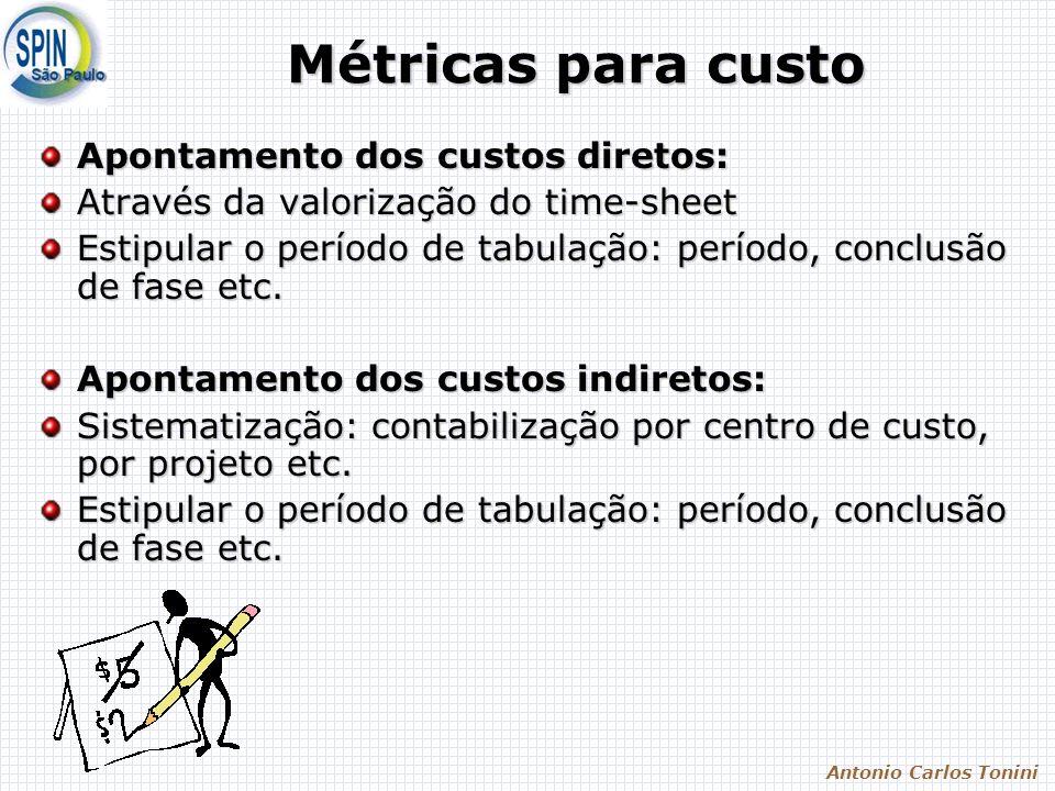 Antonio Carlos Tonini Métricas para custo Apontamento dos custos diretos: Através da valorização do time-sheet Estipular o período de tabulação: período, conclusão de fase etc.