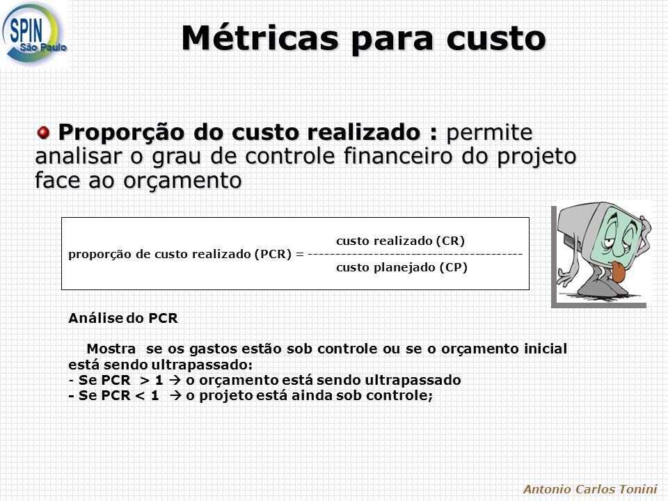 Antonio Carlos Tonini Métricas para custo custo realizado (CR) proporção de custo realizado (PCR) = ---------------------------------------- custo planejado (CP) Análise do PCR Mostra se os gastos estão sob controle ou se o orçamento inicial está sendo ultrapassado: - Se PCR > 1 o orçamento está sendo ultrapassado - Se PCR < 1 o projeto está ainda sob controle; Proporção do custo realizado : permite analisar o grau de controle financeiro do projeto face ao orçamento Proporção do custo realizado : permite analisar o grau de controle financeiro do projeto face ao orçamento