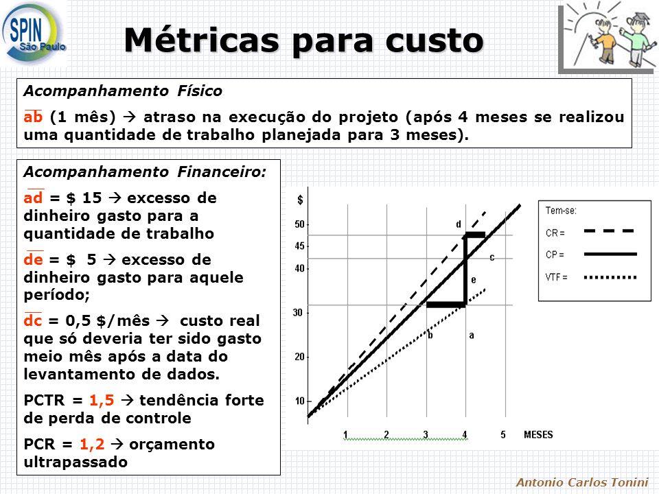 Antonio Carlos Tonini Métricas para custo Métricas para custo Acompanhamento Físico ab (1 mês) atraso na execução do projeto (após 4 meses se realizou uma quantidade de trabalho planejada para 3 meses).