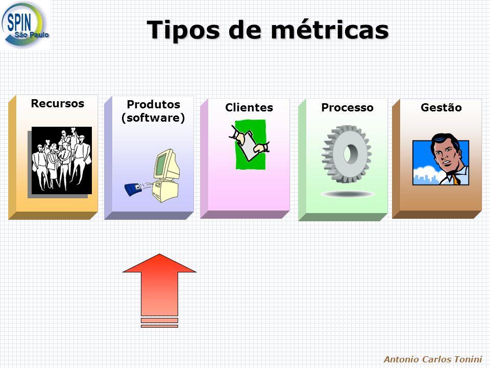 Antonio Carlos Tonini Tipos de métricas Recursos Processo Produtos (software) ClientesGestão