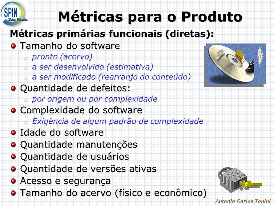 Antonio Carlos Tonini Métricas para o Produto Métricas primárias funcionais (diretas): Tamanho do software pronto (acervo) pronto (acervo) a ser desen
