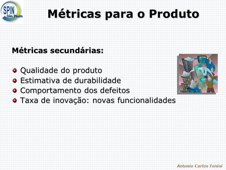 Antonio Carlos Tonini Métricas para o Produto Métricas secundárias: Qualidade do produto Estimativa de durabilidade Comportamento dos defeitos Taxa de inovação: novas funcionalidades