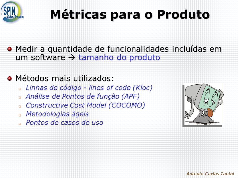 Antonio Carlos Tonini Métricas para o Produto Medir a quantidade de funcionalidades incluídas em um software tamanho do produto Métodos mais utilizados: Linhas de código - lines of code (Kloc) Linhas de código - lines of code (Kloc) Análise de Pontos de função (APF) Análise de Pontos de função (APF) Constructive Cost Model (COCOMO) Constructive Cost Model (COCOMO) Metodologias ágeis Metodologias ágeis Pontos de casos de uso Pontos de casos de uso