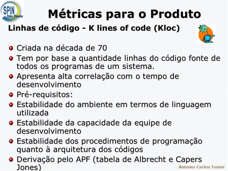 Antonio Carlos Tonini Métricas para o Produto Linhas de código - K lines of code (Kloc) Criada na década de 70 Tem por base a quantidade linhas do código fonte de todos os programas de um sistema.