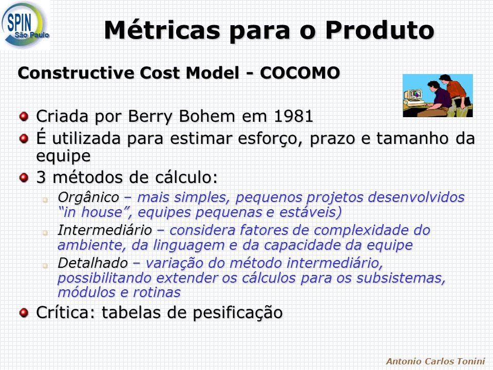 Antonio Carlos Tonini Métricas para o Produto Constructive Cost Model - COCOMO Criada por Berry Bohem em 1981 É utilizada para estimar esforço, prazo