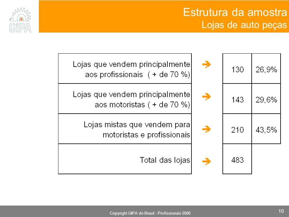Monografia 2006 Copyright GIPA do Brasil - Profissionais 2006 10 Estrutura da amostra Lojas de auto peças.