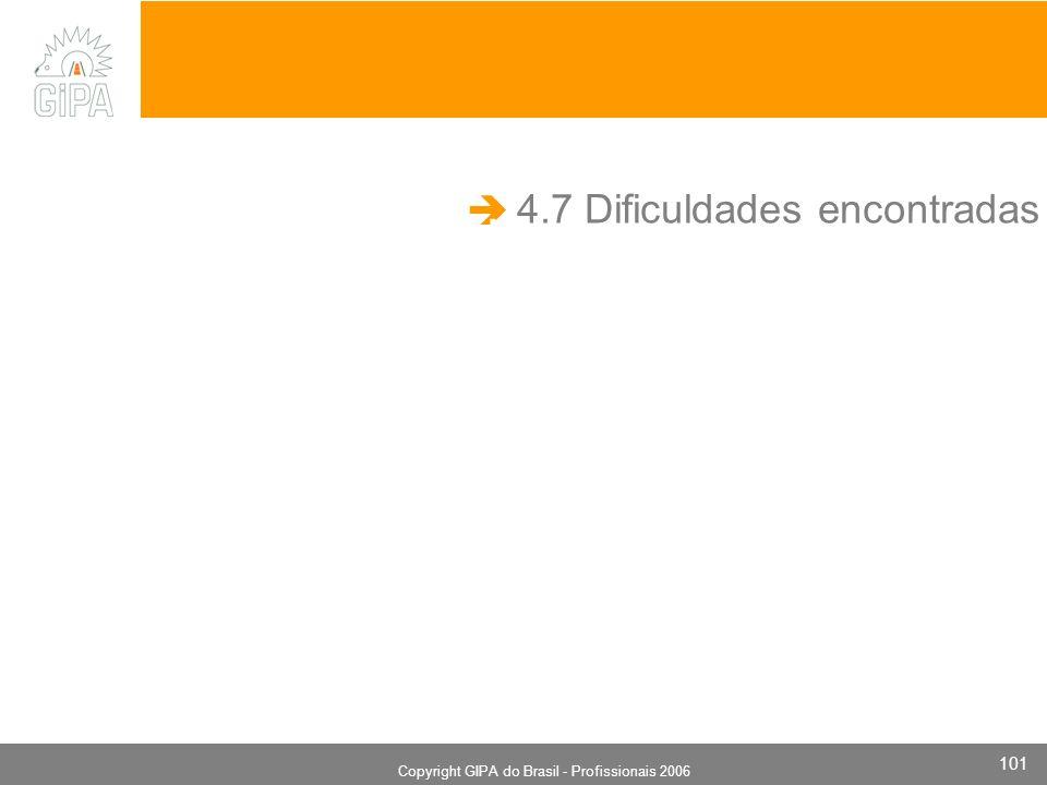 Monografia 2006 Copyright GIPA do Brasil - Profissionais 2006 101 4.7 Dificuldades encontradas.