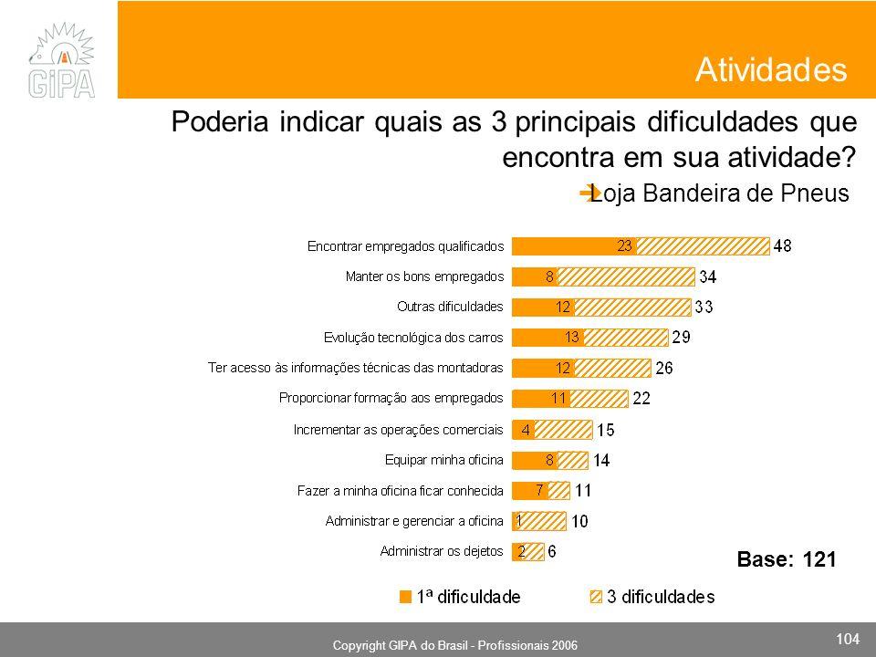 Monografia 2006 Copyright GIPA do Brasil - Profissionais 2006 104 Atividades Poderia indicar quais as 3 principais dificuldades que encontra em sua atividade.