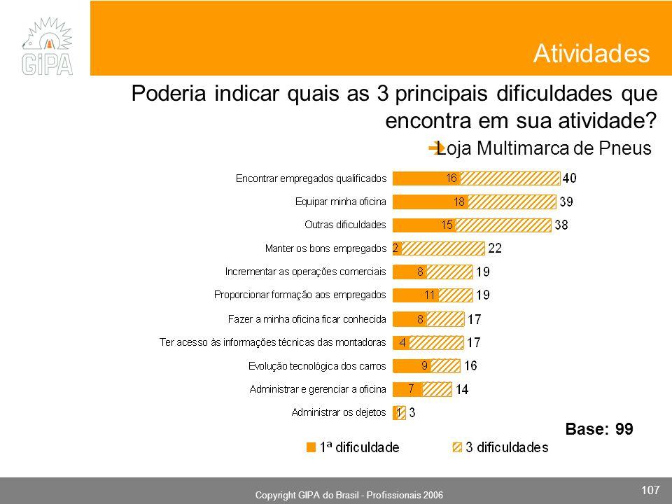 Monografia 2006 Copyright GIPA do Brasil - Profissionais 2006 107 Atividades Poderia indicar quais as 3 principais dificuldades que encontra em sua atividade.