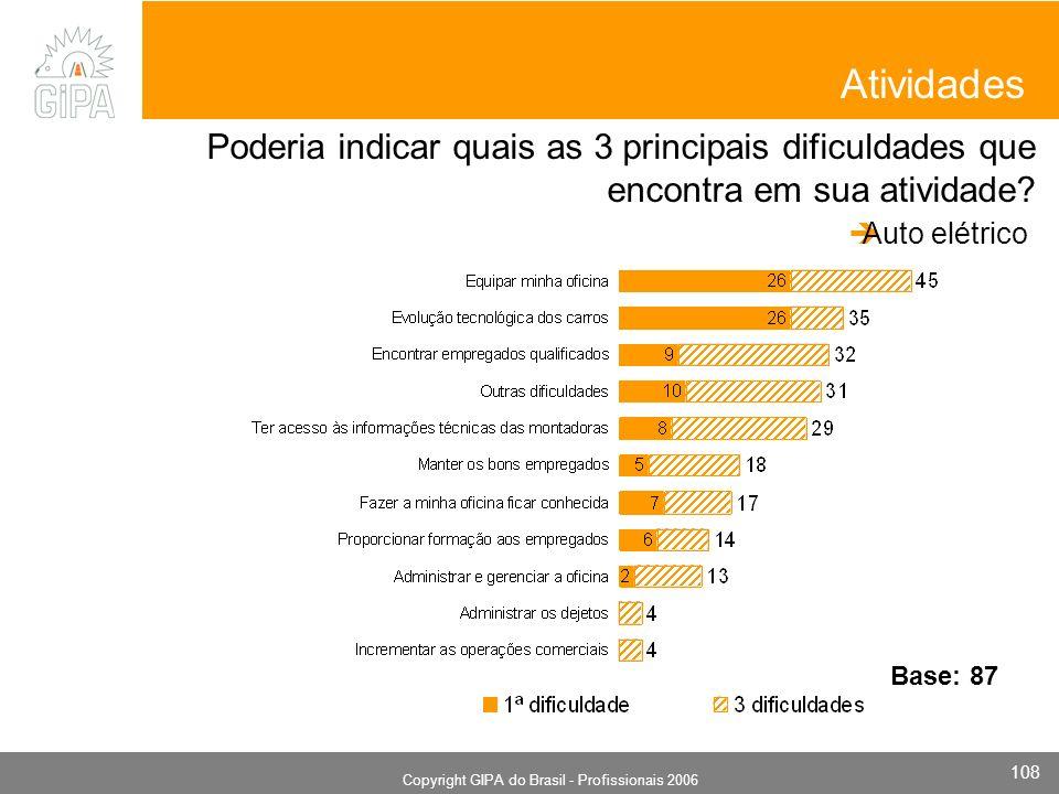 Monografia 2006 Copyright GIPA do Brasil - Profissionais 2006 108 Atividades Poderia indicar quais as 3 principais dificuldades que encontra em sua atividade.