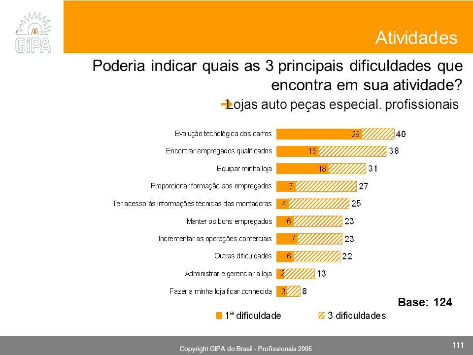 Monografia 2006 Copyright GIPA do Brasil - Profissionais 2006 111 Atividades Poderia indicar quais as 3 principais dificuldades que encontra em sua atividade.