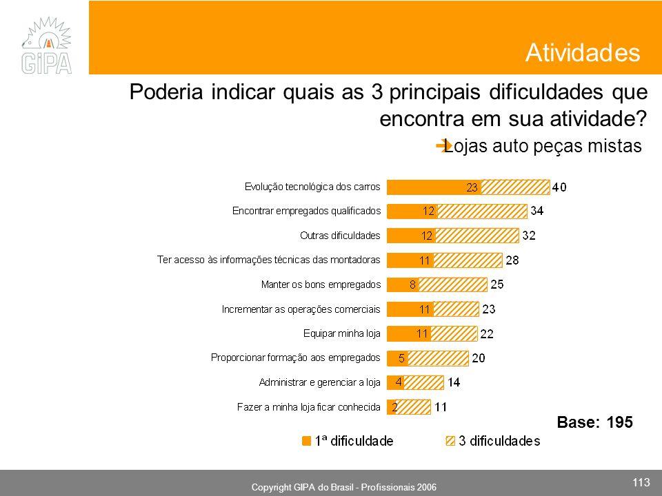 Monografia 2006 Copyright GIPA do Brasil - Profissionais 2006 113 Atividades Poderia indicar quais as 3 principais dificuldades que encontra em sua atividade.