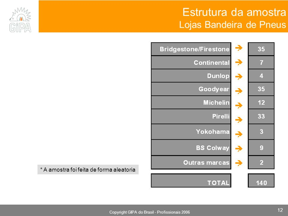 Monografia 2006 Copyright GIPA do Brasil - Profissionais 2006 12 Estrutura da amostra Lojas Bandeira de Pneus.