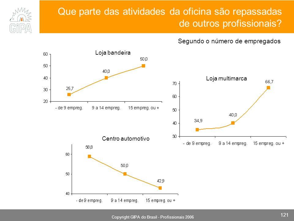 Monografia 2006 Copyright GIPA do Brasil - Profissionais 2006 121 Loja multimarca Loja bandeira Centro automotivo Que parte das atividades da oficina são repassadas de outros profissionais.