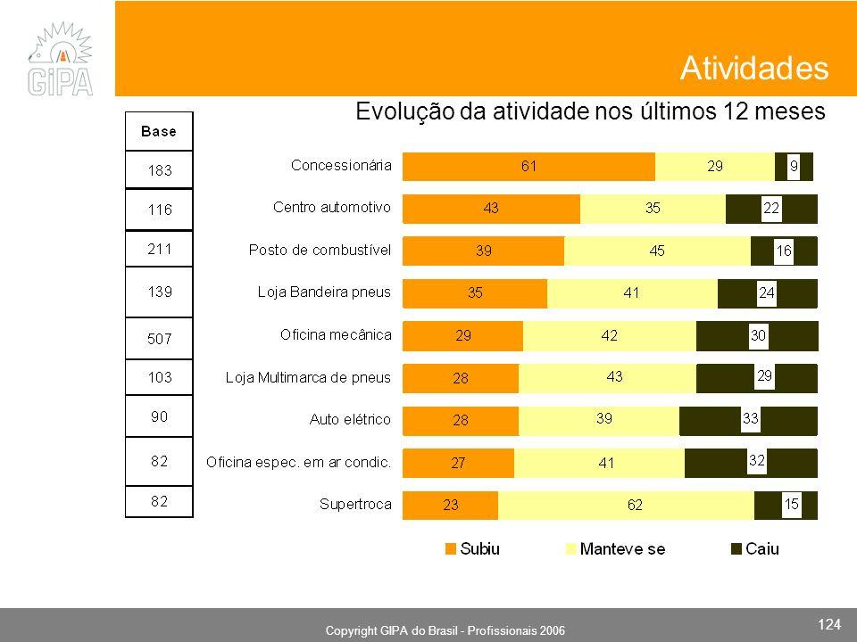 Monografia 2006 Copyright GIPA do Brasil - Profissionais 2006 124 Evolução da atividade nos últimos 12 meses Atividades