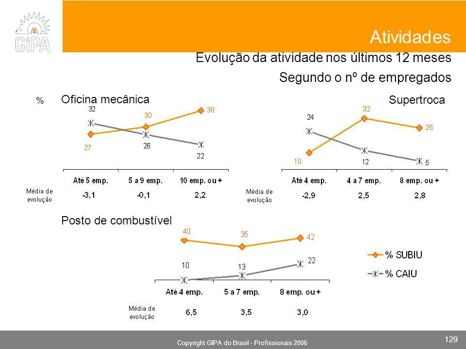 Monografia 2006 Copyright GIPA do Brasil - Profissionais 2006 129 Evolução da atividade nos últimos 12 meses Segundo o nº de empregados Oficina mecânica Atividades Supertroca Posto de combustível %