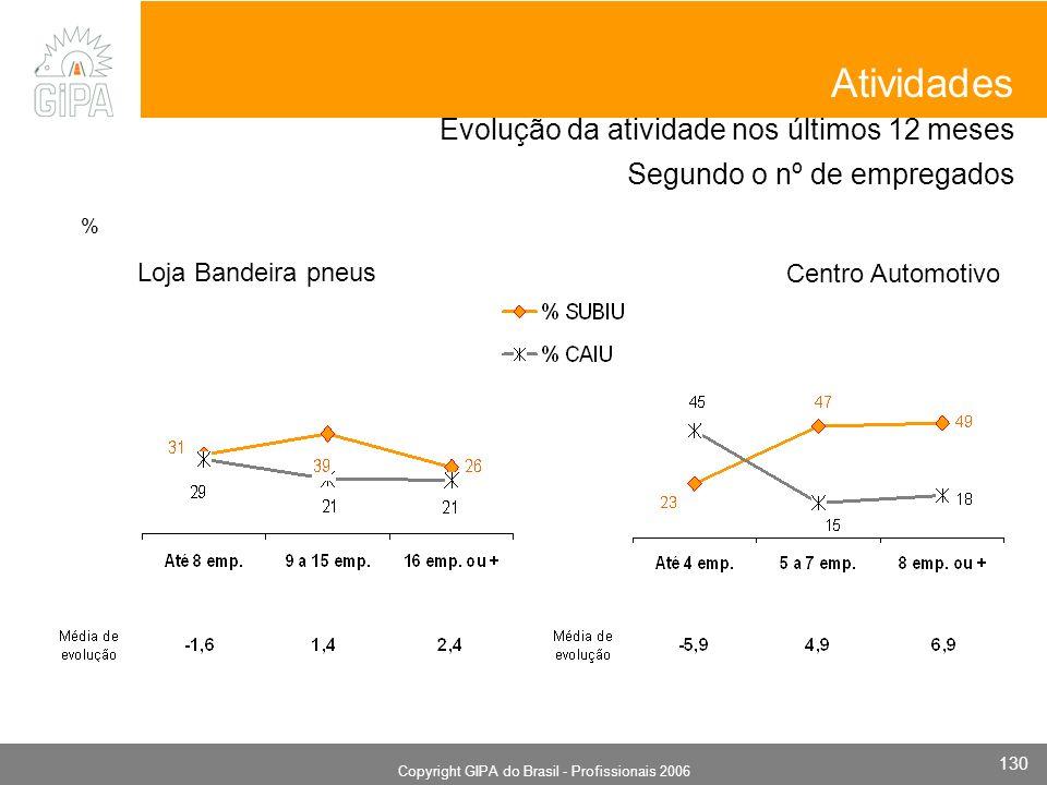 Monografia 2006 Copyright GIPA do Brasil - Profissionais 2006 130 Evolução da atividade nos últimos 12 meses Segundo o nº de empregados Loja Bandeira pneus Atividades Centro Automotivo %