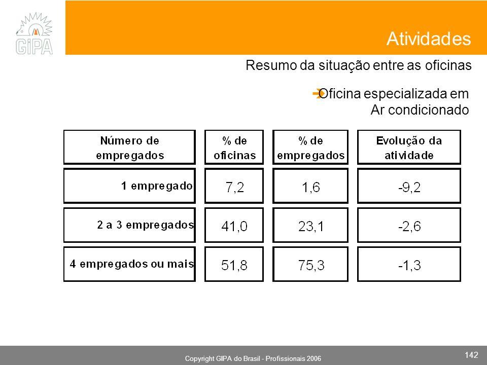 Monografia 2006 Copyright GIPA do Brasil - Profissionais 2006 142 Resumo da situação entre as oficinas Atividades Oficina especializada em Ar condicio