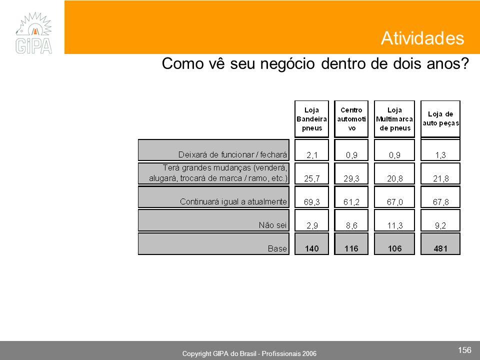 Monografia 2006 Copyright GIPA do Brasil - Profissionais 2006 156 Atividades Como vê seu negócio dentro de dois anos?