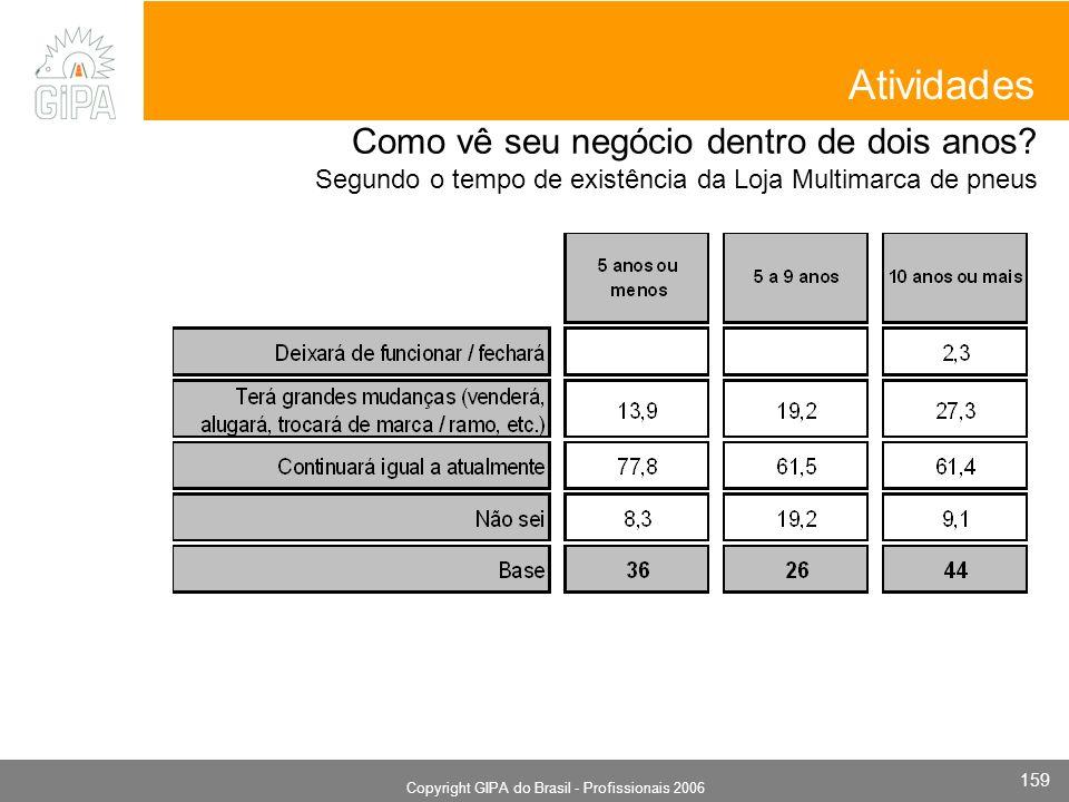 Monografia 2006 Copyright GIPA do Brasil - Profissionais 2006 159 Atividades Como vê seu negócio dentro de dois anos? Segundo o tempo de existência da