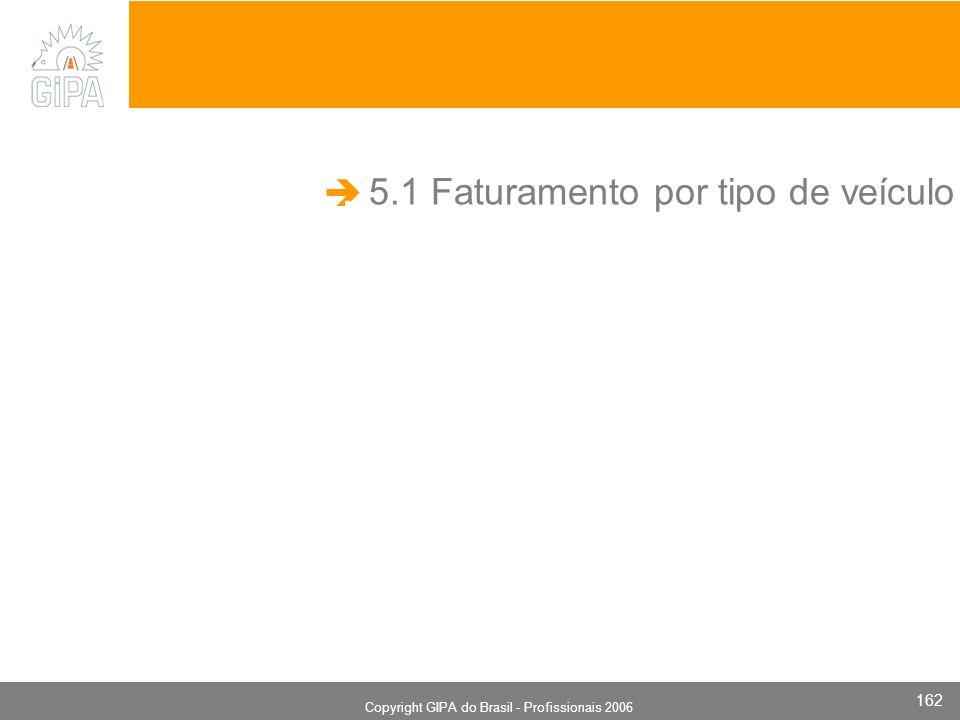 Monografia 2006 Copyright GIPA do Brasil - Profissionais 2006 162 5.1 Faturamento por tipo de veículo.
