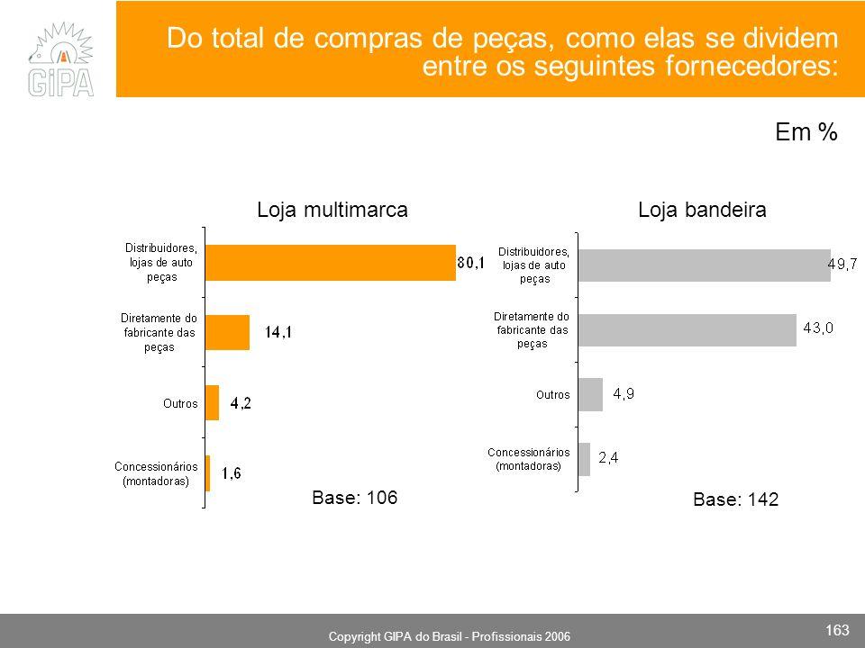 Monografia 2006 Copyright GIPA do Brasil - Profissionais 2006 163 Loja bandeiraLoja multimarca Base: 142 Base: 106 Em % Do total de compras de peças, como elas se dividem entre os seguintes fornecedores: