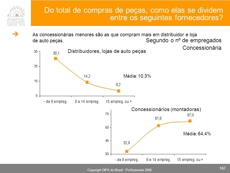 Monografia 2006 Copyright GIPA do Brasil - Profissionais 2006 167 Segundo o nº de empregados Concessionários (montadoras) Distribuidores, lojas de aut