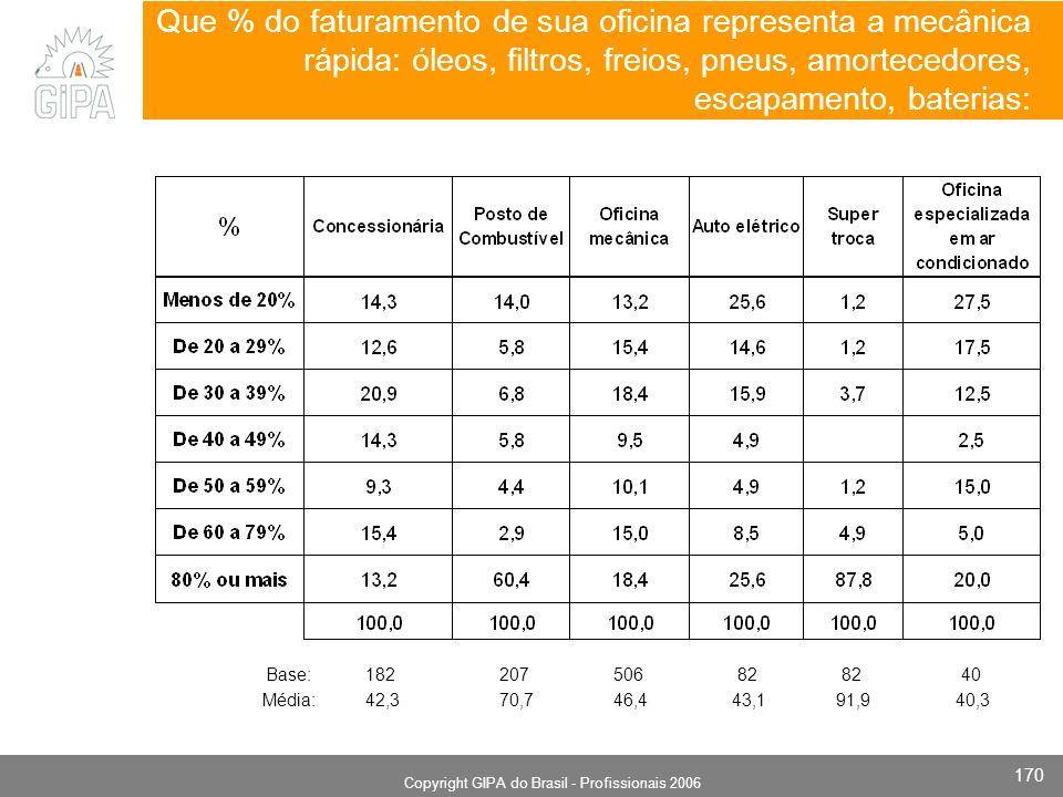 Monografia 2006 Copyright GIPA do Brasil - Profissionais 2006 170 Que % do faturamento de sua oficina representa a mecânica rápida: óleos, filtros, fr