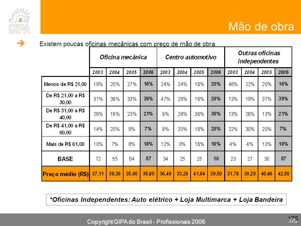 Copyright GIPA do Brasil - Profissionais 2006 175 *Oficinas Independentes: Auto elétrico + Loja Multimarca + Loja Bandeira Mão de obra Existem poucas oficinas mecânicas com preço de mão de obra