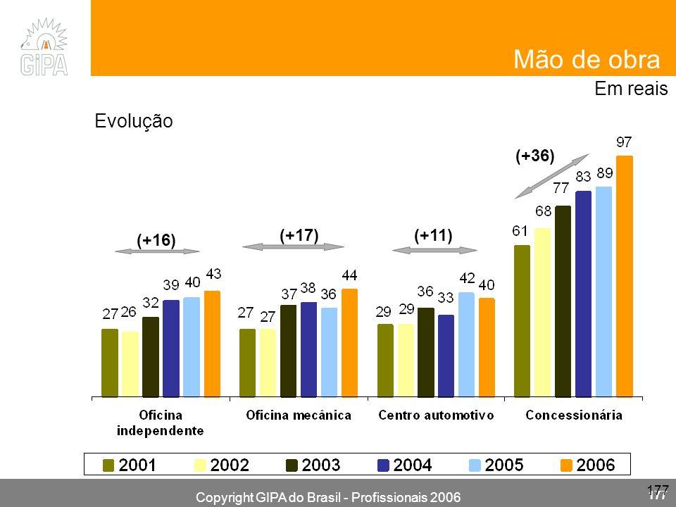 Copyright GIPA do Brasil - Profissionais 2006 177 (+17) (+16) (+11) (+36) Em reais Evolução Mão de obra