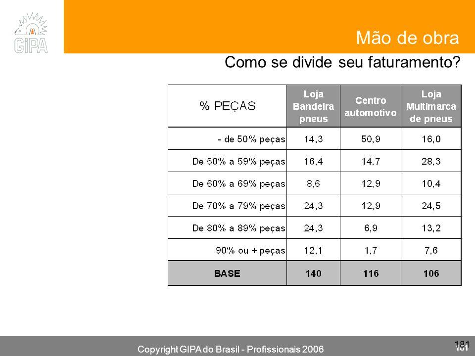 Copyright GIPA do Brasil - Profissionais 2006 181 Mão de obra Como se divide seu faturamento