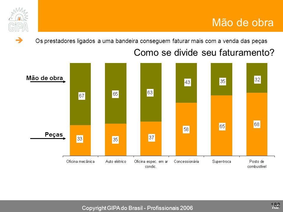 Copyright GIPA do Brasil - Profissionais 2006 182 Mão de obra Como se divide seu faturamento? Mão de obra Peças Os prestadores ligados a uma bandeira