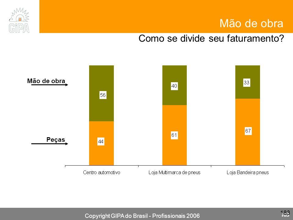 Copyright GIPA do Brasil - Profissionais 2006 183 Mão de obra Como se divide seu faturamento? Mão de obra Peças