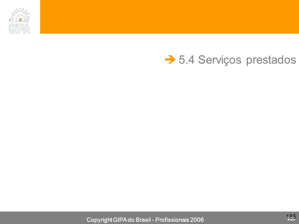 Copyright GIPA do Brasil - Profissionais 2006 185 5.4 Serviços prestados.