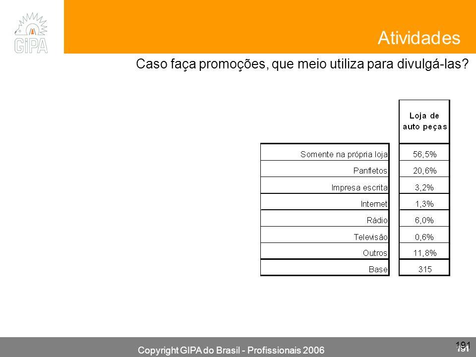 Copyright GIPA do Brasil - Profissionais 2006 191 Caso faça promoções, que meio utiliza para divulgá-las? Atividades