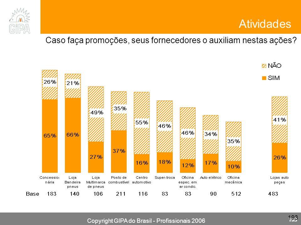 Copyright GIPA do Brasil - Profissionais 2006 193 Caso faça promoções, seus fornecedores o auxiliam nestas ações? Atividades