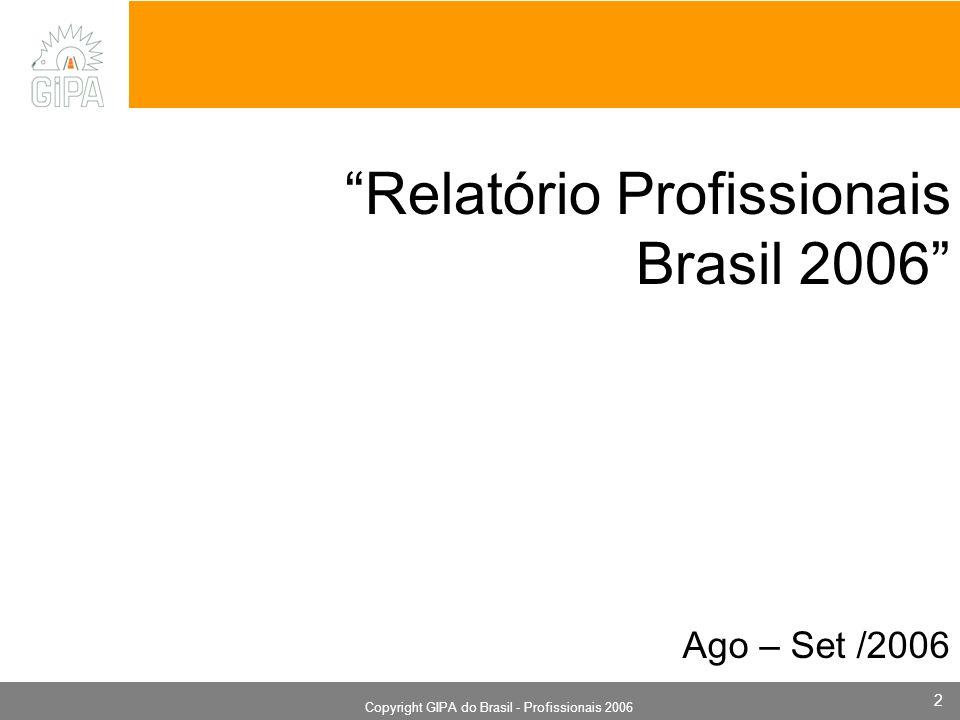 Monografia 2006 Copyright GIPA do Brasil - Profissionais 2006 2 Relatório Profissionais Brasil 2006 Ago – Set /2006
