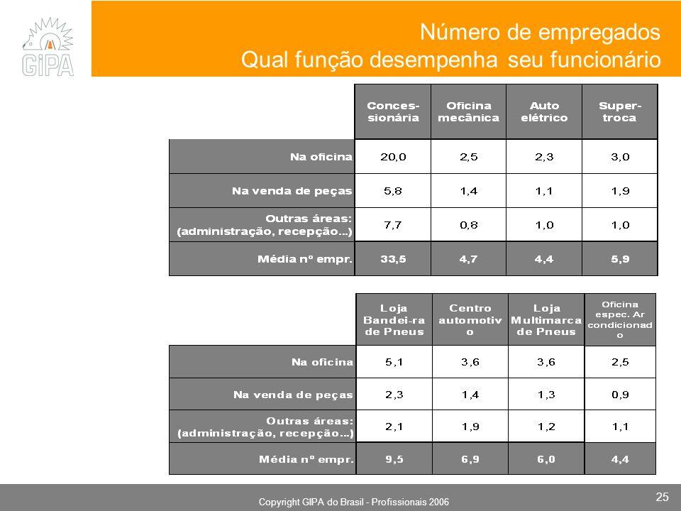 Monografia 2006 Copyright GIPA do Brasil - Profissionais 2006 25 Número de empregados Qual função desempenha seu funcionário